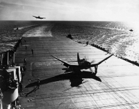 SB2C-3 of Bombing Squadron Six VB-6 pictured on the flight deck after recovery aboard USS Hancock CV-19 (Courtesy of National Museum of Naval Aviation)